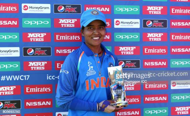 Player of the match Ekta Bisht of India following the ICC Women's World Cup match between India and Pakistan at The 3aaa County Ground on July 2 2017...