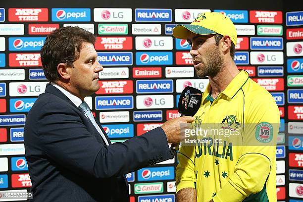 Player of the match Glenn Maxwell is interviewed by Mark Taylor after the 2015 ICC Cricket World Cup match between Australia and Sri Lanka at Sydney...