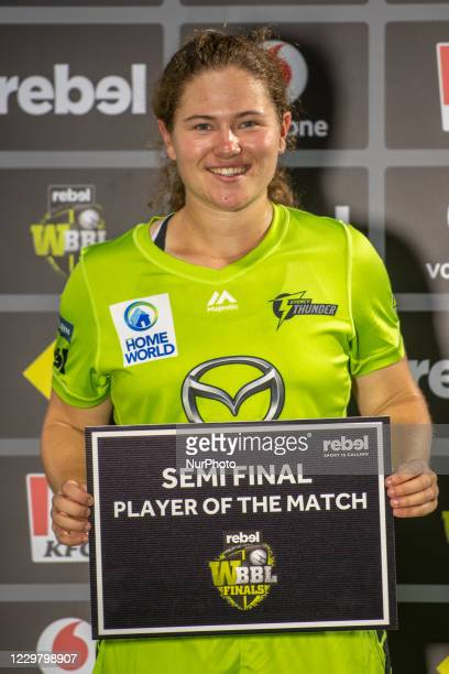 Player of the match Hannah Darlington of Thunder during the Women's Big Bash League WBBL Semi Final match between the Brisbane Heat and the Sydney...