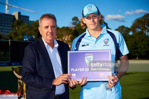 Player of the match, Jack Edwards of NSW poses for a photo during the 2021 Marsh One Day Cup Final match between New South Wales and Western...