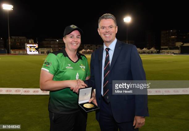 Player of the match Rachel Priest of Western Storm is posing for a picture after the Women's Kia Super League Final between Southern Vipers and...