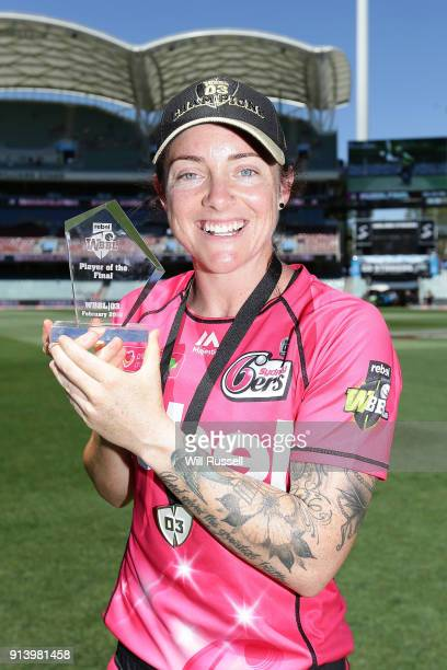 Player of the match Sarah Coyte of the Sixers after the Women's Big Bash League final match between the Sydney Sixers and the Perth Scorchers at...