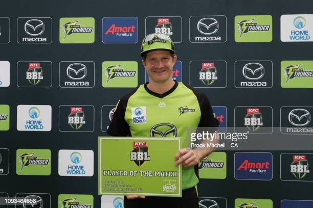 Player of the match Shane Watson of the Thunder during the Big Bash League match between the Sydney Thunder and the Adelaide Strikers at Spotless...