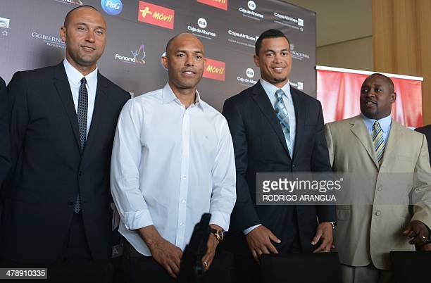US player of the New York Yankees Derek Jeter Panamanian Mariano Rivera retired player of the New York Yankees Giancarlo Stanton of the Miami Marlins...