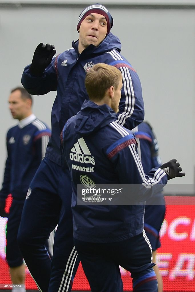 Player of the Russia national soccer team Artem Dzyuba (rear) seen during training session of Russian national soccer team at Arena Khimki in Russia, Moscow before UEFA Euro 2016 qualifying Group G soccer match against Montenegro national soccer team.