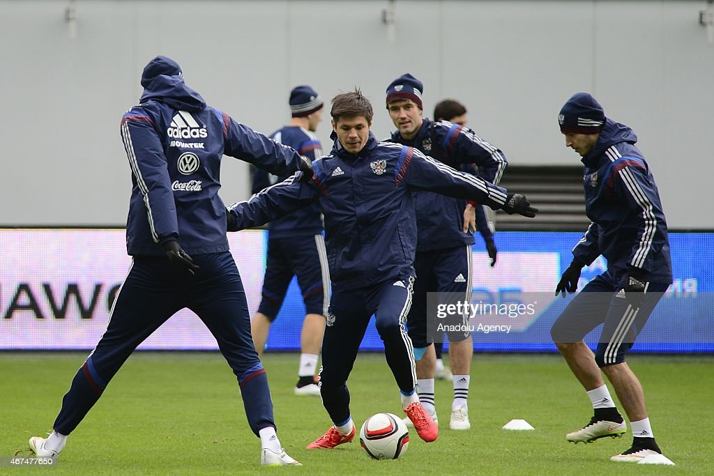 Player of the Russia national soccer team Igor Portnyagin (2nd L) seen during training session of Russian national soccer team at Arena Khimki in Russia, Moscow before UEFA Euro 2016 qualifying Group G soccer match against Montenegro national soccer team.