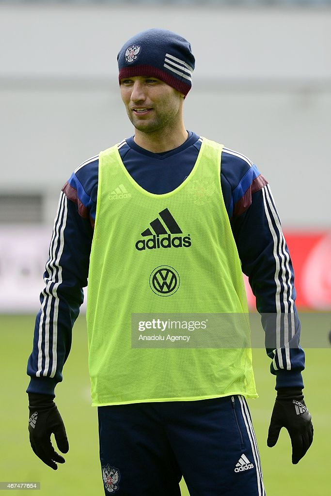 Player of the Russia national soccer team Roman Shirokov seen during training session of Russian national soccer team at Arena Khimki in Russia, Moscow before UEFA Euro 2016 qualifying Group G soccer match against Montenegro national soccer team.