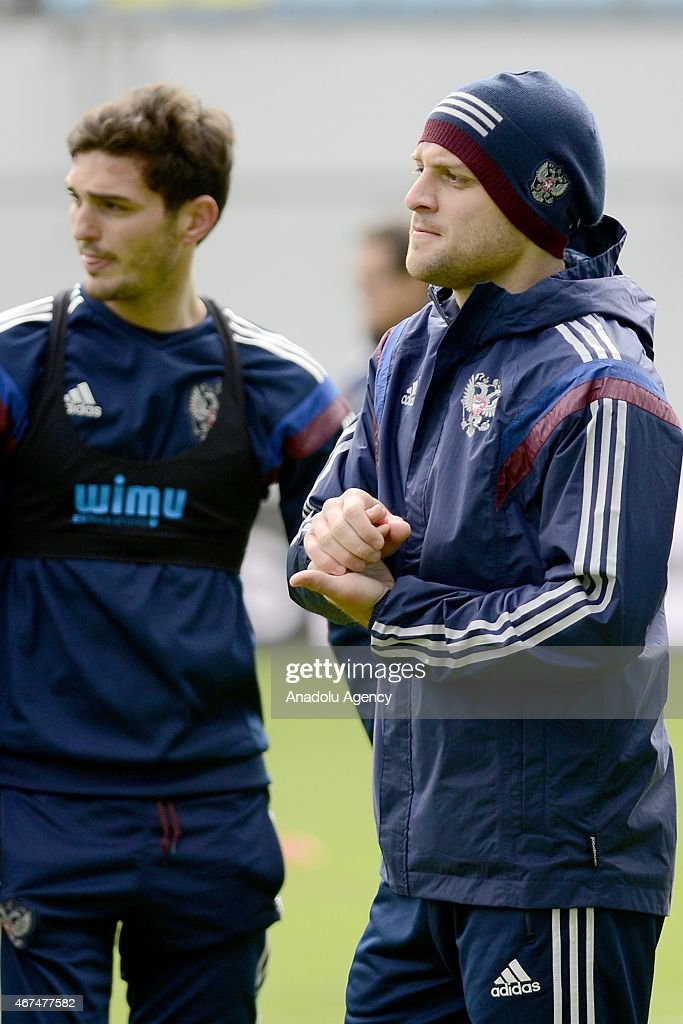 Player of the Russia national soccer team Ruslan Kambolov (R) seen during training session of Russian national soccer team at Arena Khimki in Russia, Moscow before UEFA Euro 2016 qualifying Group G soccer match against Montenegro national soccer team.