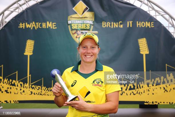 Player Of The Series Alyssa Healy of Australia poses during game three of the One Day International Series between Australia and New Zealand at...