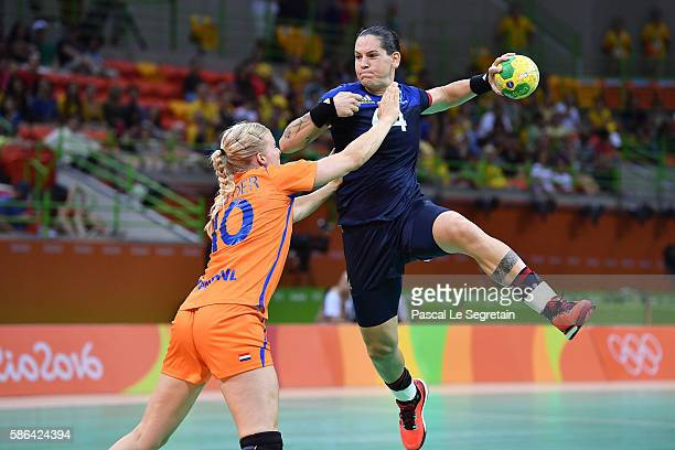 Player of the team of France Alexandra Lacrabere shoots during the women's preliminaries Group B handball match Netherlands vs France Day 1 of the...