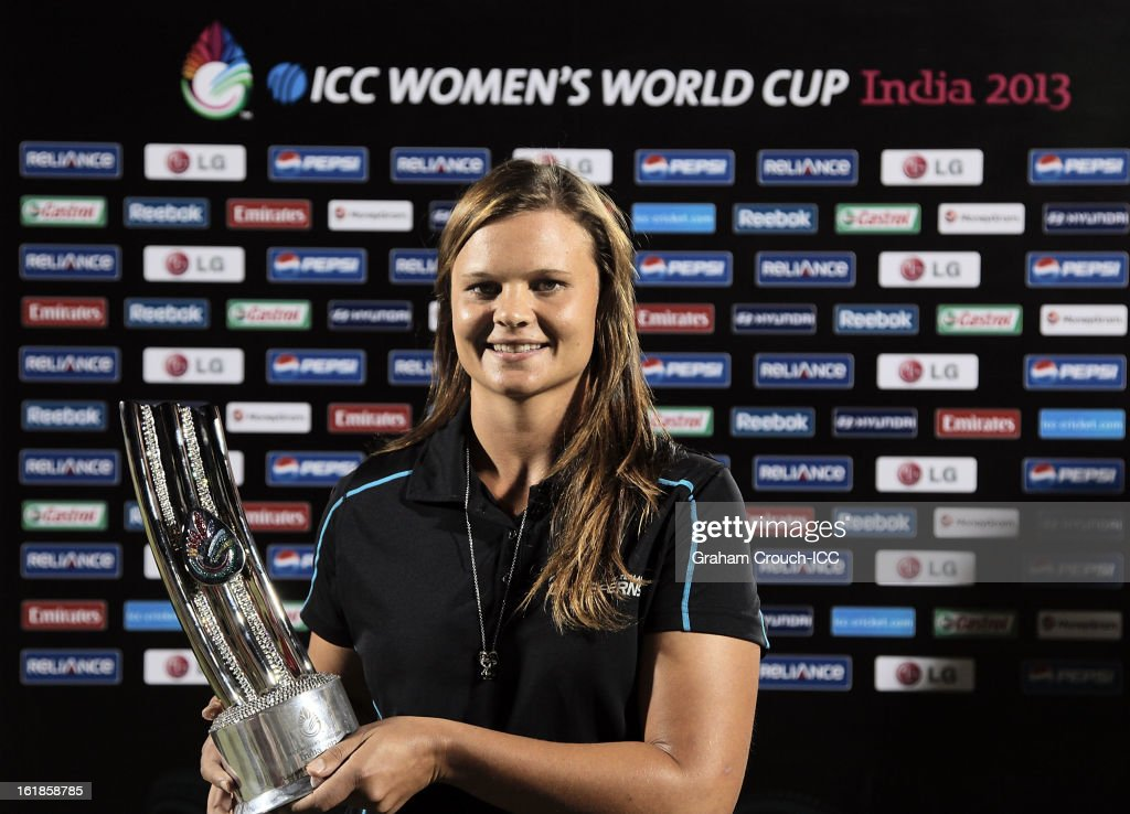 Player of the tournament Suzy Bates of New Zealand with her trophy after the final between Australia and West Indies of the Women's World Cup India 2013 played at the Cricket Club of India ground on February 17, 2013 in Mumbai, India.