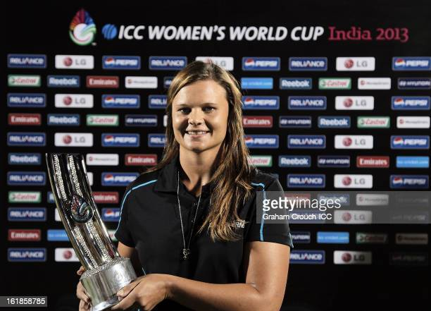 Player of the tournament Suzy Bates of New Zealand with her trophy after the final between Australia and West Indies of the Women's World Cup India...