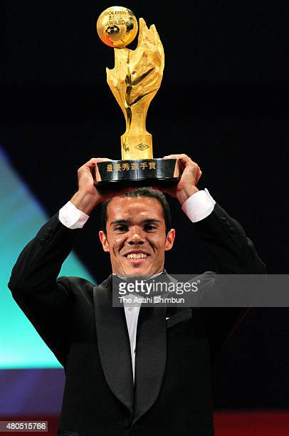 Player of the Year Award winner Leandro Domingues of Kashiwa Reysol poses with the trophy during the JLeague Awards at Yokohama Arena on December 5...