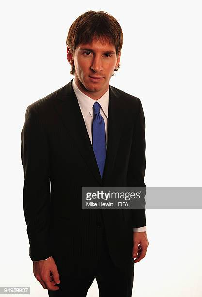 Player of the Year Lionel Messi of Barcelona and Argentina poses for a photo on December 21 2009 in Zurich Switzerland
