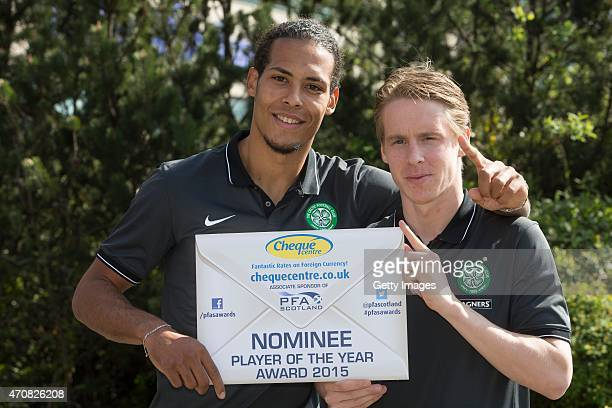 PFA player of the year nominees Virgil Van Dijk and Stefan Johansen of Celtic pose at the Scottish Premiership Player of the Year Awards Nominees...