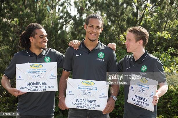 PFA player of the year nominees Virgil Van Dijk and Stefan Johansen of Celtic with the PFA young player of the year nominee Jason Denayer of Celtic...
