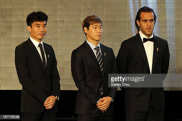 Player of the Year Nominees Zheng Zhi of China Lee Keun Ho of South Korea and Mohammad Ali Karimi of Iran during the 2012 AFC Annual Awards at the...