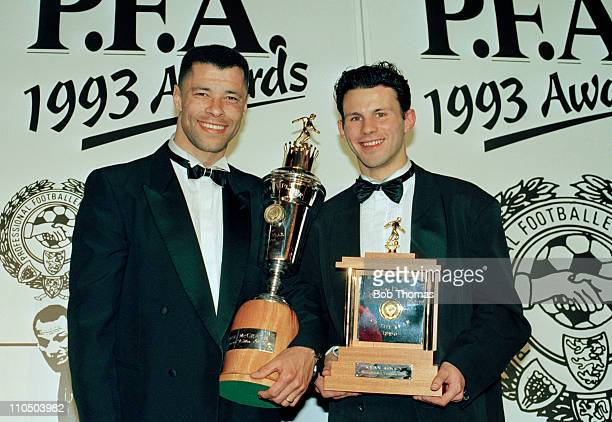 PFA Player of the Year Paul McGrath of Aston Villa with the PFA Young Player of the Year Ryan Giggs of Manchester United at the PFA Awards...