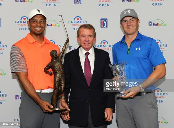 Player of the Year recipient Tiger Woods with the Jack Nicklaus Trophy PGA TOUR Commissioner Tim Finchem and Rookie of the Year recipient Jordan...