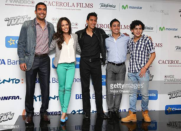 Player of Toluca football team Edgar Duenas actress Ana Claudia Talancon players of Toluca football team Marvin Cabrera and Fausto Pinto actor...