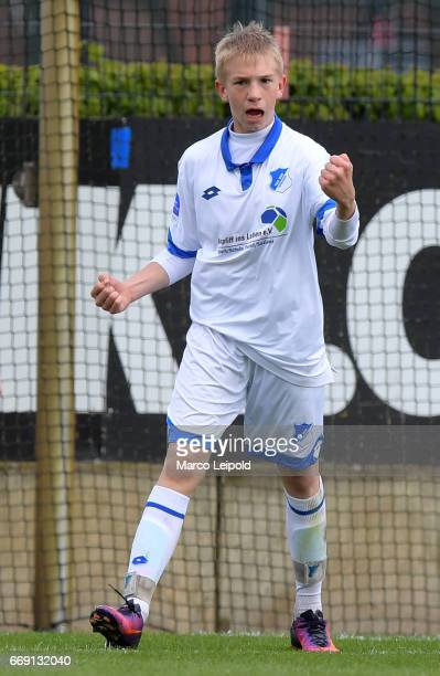 player of TSG Hoffenheim U14 celebrates the goal during the Nike Premier Cup 2017 on april 16 2017 in Berlin Germany