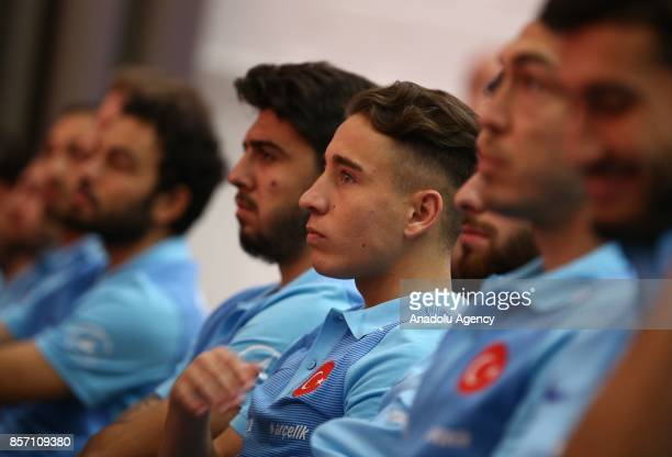 Player of Turkish National Football Team Emre Mor attend a signing ceremony due to the agreement between Turkish Football Federation and Tadelle in...