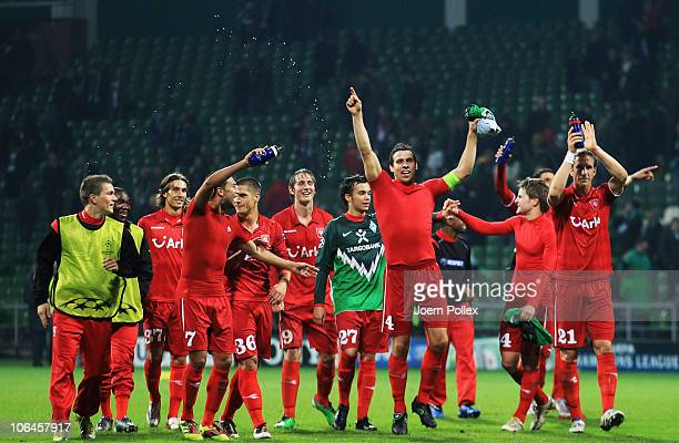 Player of Twente celebrate after winning the UEFA Champions League group A match between SV Werder Bremen and FC Twente at Weser Stadium on November...