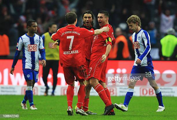 Player of Union celebrate after winning the Second Bundesliga match between Hertha BSC Berlin and Union Berlin at Olympic Stadium on February 5 2011...