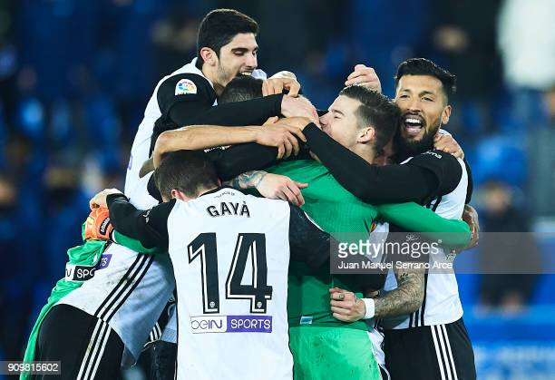 Player of Valencia CF celebrates after winning the match against Alaves after the penalti shootout during the Copa del Rey Quarter Final second Leg...