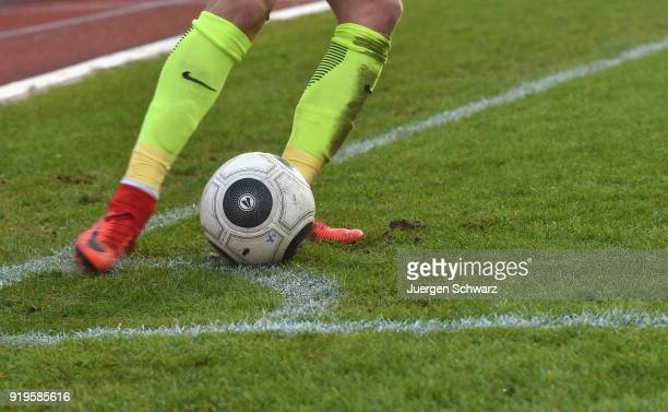 A player of Wiesbaden kicks a corner during the 3 Liga match between SC Fortuna Koeln and SV Wehen Wiesbaden at Suedstadion on February 17 2018 in...