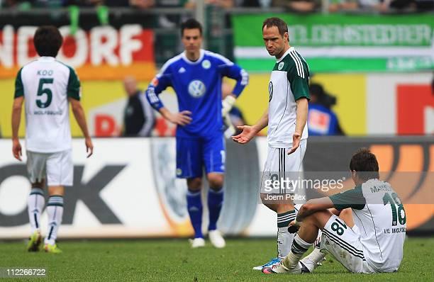 Player of Wolfsburg are seen after the Bundesliga match between VfL Wolfsburg and FC St. Pauli at Volkswagen Arena on April 16, 2011 in Wolfsburg,...