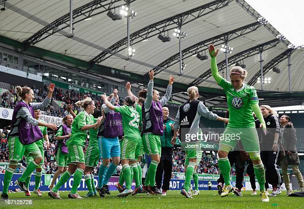 Player of Wolfsburg celebrate after winning the Women's Champions League semifinal second leg match between VfL Wolfsburg and Arsenal Ladies FC at...