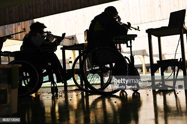Player on wheelchair competes in the men's 50m rifle 3 positions SH1 on day 5 of the Rio 2016 Paralympic Games at Olympic shooting centre on...