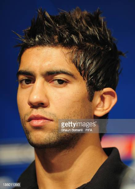 Player Ousama Darragi talks to the media during an Esperance Sportive de Tunis Press Conference at the Westin Nagoya Castle Hotel on December 6 2011...