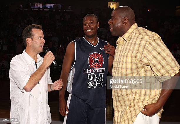 "Player Paul Pierce and NBA player Earvin ""Magic"" Johnson during the LA stars celebrity all star charity weekend celebrity and NBA all star game at..."