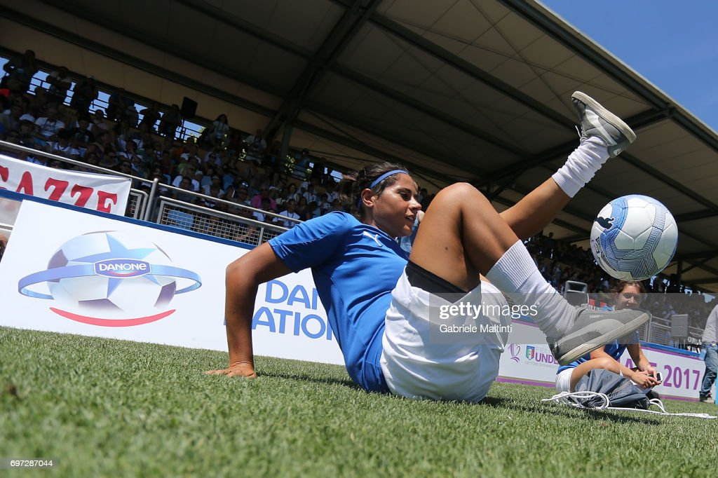 A player performs tricks during the Italian Football Federation during 9th Grassroots Festival at Coverciano on June 18, 2017 in Florence, Italy.