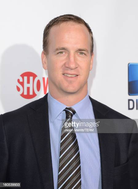 NFL player Peyton Manning attends DIRECTV'S Seventh Annual Celebrity Beach Bowl at DTV SuperFan Stadium at Mardi Gras World on February 2 2013 in New...