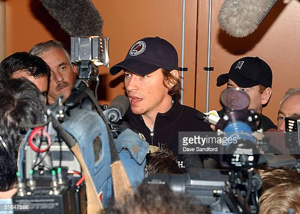 NHL player Pierre Dagenais of the Montreal Canadiens speaks to members of the media following the NHL Players' Association meetings held in the...