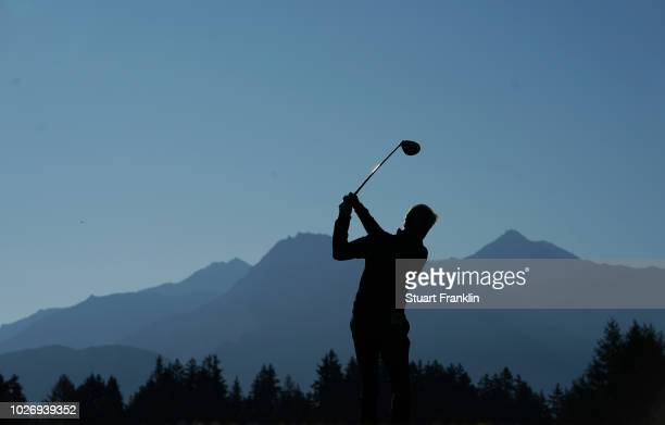 A player plays a shot during the pro am prior to the start of the Omega European Masters at CranssurSierre Golf Club on September 5 2018 in...