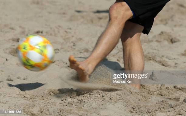 A player plays the ball during the German Beachsoccer League on May 18 2019 in Rostock Germany