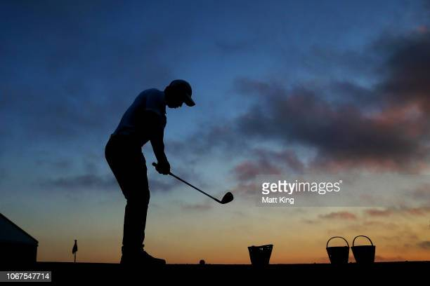 A player practices before the start of play during day one of the 2018 Australian Golf Open at The Lakes Golf Club on November 15 2018 in Sydney...