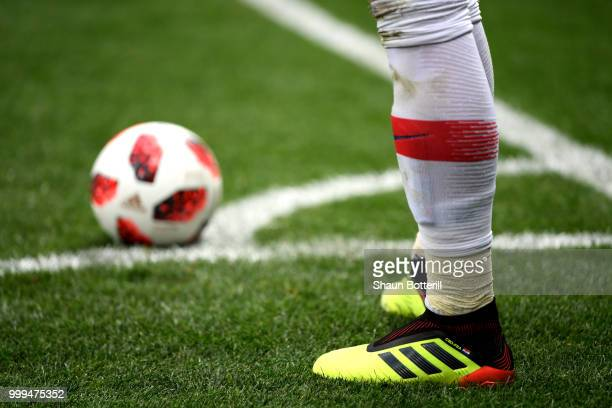 A player prepares to take a corner kick during the 2018 FIFA World Cup Final between France and Croatia at Luzhniki Stadium on July 15 2018 in Moscow...