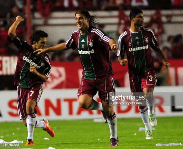 Player Rafael Moura of Fluminense celebrates a goal againts Argentinos Jr in a match for the Santander Libertadores Cup 2011 in Diego Armando...