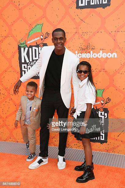 NBA player Rajon Rondo and guest arrive at the Nickelodeon Kids' Choice Sports Awards 2016 at the UCLA's Pauley Pavilion on July 14 2016 in Westwood...