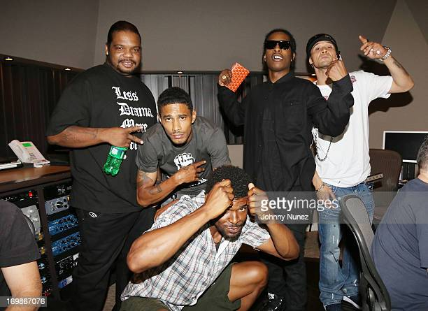 NFL player Ramses Barden rappers Wish Bone Layzie Bone of Bone ThugsNHarmony A$AP Rocky and Bizzy Bone of Bone ThugNHarmony attend a studio session...
