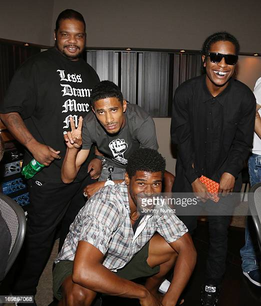 NFL player Ramses Barden rappers Wish Bone Layzie Bone of Bone ThugsNHarmony and A$AP Rocky attend a studio session at Germano Studios on June 3 2013...