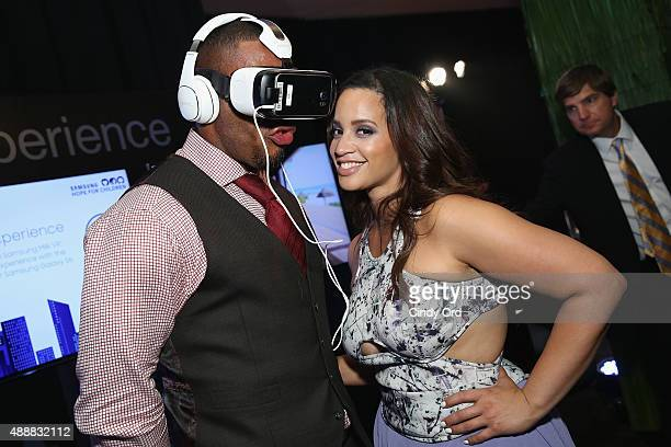 NFL player Rashad Jennings and actress Dascha Polanco attend the Samsung Hope For Children Gala 2015 at Hammerstein Ballroom on September 17 2015 in...