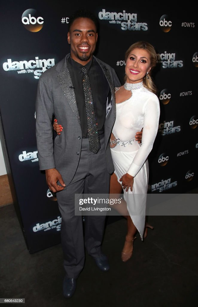 NFL player Rashad Jennings (L) and dancer Emma Slater attend 'Dancing with the Stars' Season 24 at CBS Televison City on May 8, 2017 in Los Angeles, California.
