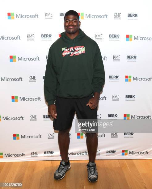 Player Rasheem Green attends Microsoft Stores Pro Player Charity Fortnite Duos Tournament Presented By Kor Media Entertainment at Microsoft Store on...