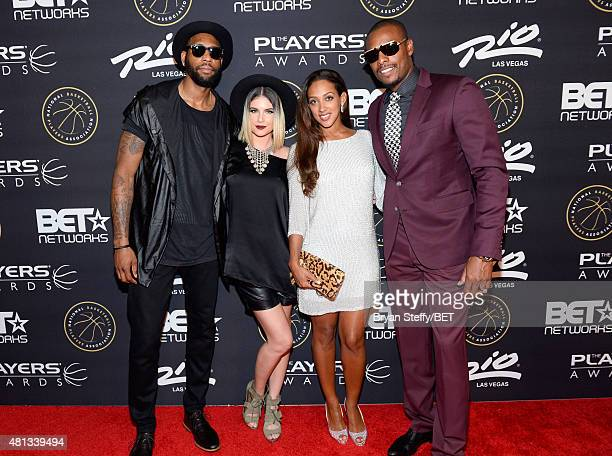 NBA player Rasual Butler singer Leah LaBelle Julie Pierce and NBA player Paul Pierce of the Los Angeles Clippers attend The Players' Awards presented...